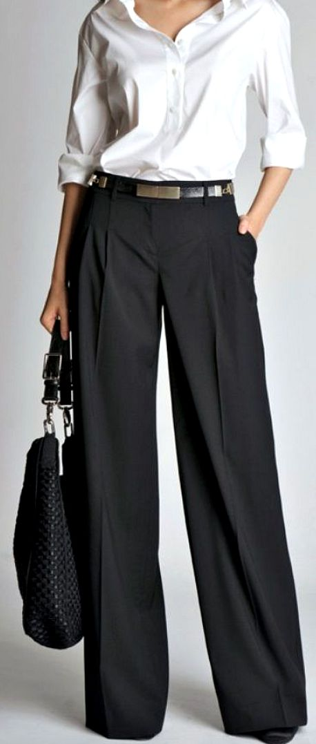 How to wear wide trousers - white shirt - black trousers