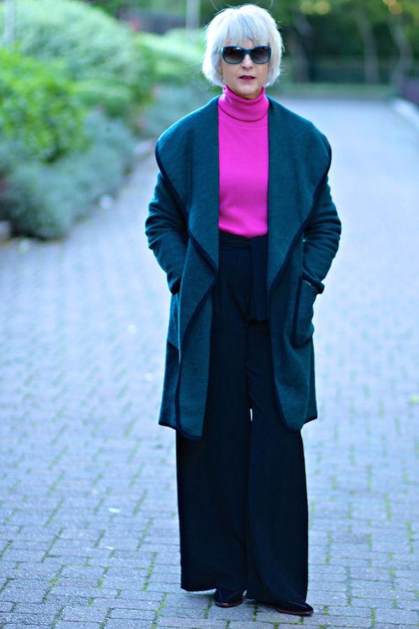 MandS green wrap coat