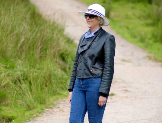 Black biker jacket in Brecon Beacons