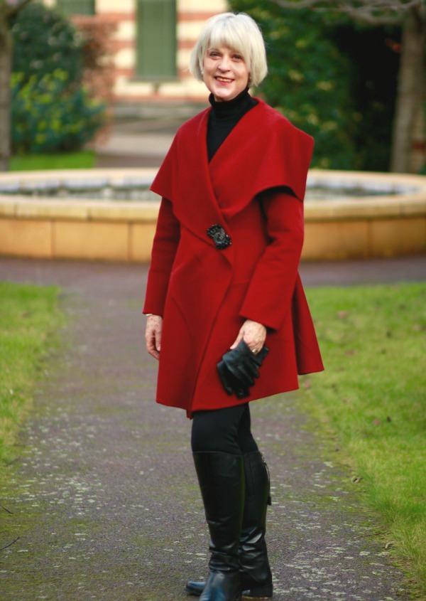 Red shawl collar wrap coat